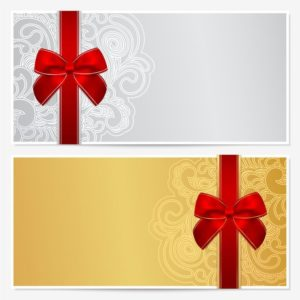 20849119 - voucher, gift certificate, coupon template with border, frame, bow ribbons